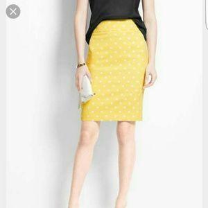 Ann Taylor yellow polka dot jacquard skirt